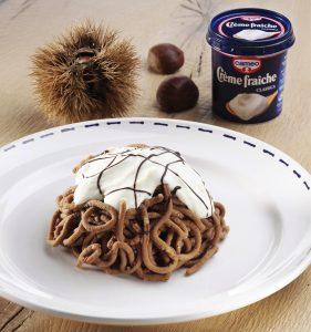 Finto mont-blanc di castagne, cioccolato e crème fraîche